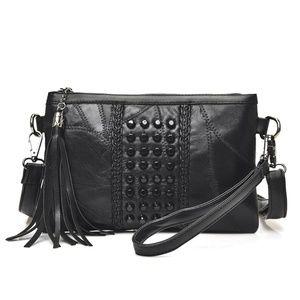 long strap black leather purse